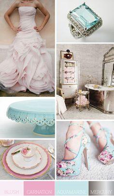 A Palette of Blush, Carnation Pink, Aquamarine & Mercury :)