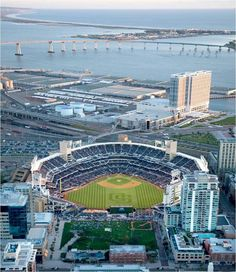 The view from above onto Petco Stadium and the Harbor waterfront...in San Diego