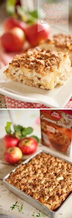 Apple & Cinnamon Streusel Coffee Cake - Krafted Koch - An easy breakfast coffe cake recipe that starts with a box mix and amps it up with fresh apples, sour cream and pecans!