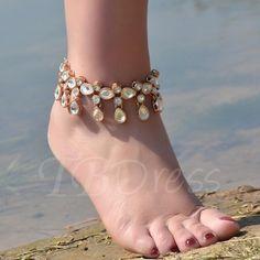 #AdoreWe #TBDress TBDress Alloy Diamante Water Droplets Tassels Anklet - AdoreWe.com