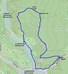 Walks in the Peak District - Ladybower Reservoir and Derwent Edge Walking Routes, Peak District, Map, Hiking Trails, Maps, Peta