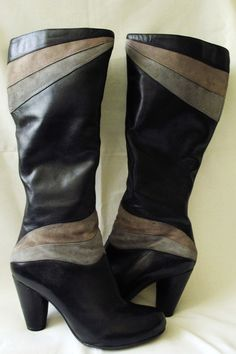 Miz Mooz boots lagenlook black gray artsy art to wear iconic knee high sz 6.5 #MizMooz #FashionKneeHigh #SpecialOccasion