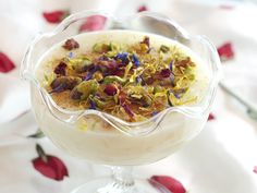 Rice pudding with orange blossom, rose, and scented geranium by Liz Posmyk, Good Things