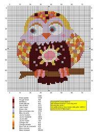 A colourful free owl cross stitch chart. Cross Stitch Owl, Cross Stitch For Kids, Cross Stitch Needles, Cross Stitch Animals, Cross Stitch Charts, Cross Stitch Designs, Cross Stitching, Cross Stitch Patterns, Blackwork Embroidery
