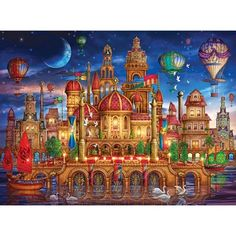 New Schmidt Moated Castle by Ciro Marchetti 2000 piece fantasy jigsaw puzzle Tarot Decks, Kitsch, Dmc Cross Stitch Kits, Room Wall Painting, Wooden Jigsaw Puzzles, Canvas Prints, Art Prints, Pattern Art, Fantasy Art