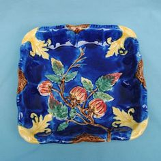 225  Lovely Cobalt Blue Square Majolica Serving Plate or Display Piece