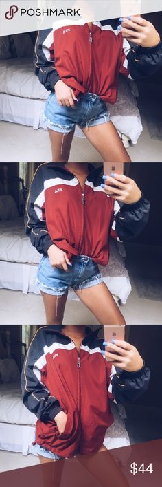 fila windbreaker super rad and retro red / grey / orange / & white color scheme windbreaker from fila. this piece is sooo comfy and trendy! looks cute with some distressed denim. in perfect condition •• tagged a medium but runs more like a large  Fila Jackets & Coats