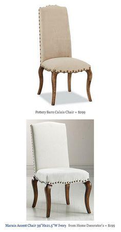 COPY CAT CHIC FIND: Pottery Barn Calais Chair VS Home Decorator's Marais Accent Chair