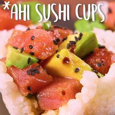 Ahi Sushi Cups: Not authentic. But super duper cute: Ahi Sushi Cups: Skip the mat-and-roll routine and keep sushi night simple with these easy-to-make and impressive-to-serve cups. Cucumber Recipes, Sushi Recipes, Seafood Recipes, Asian Recipes, Cooking Recipes, Healthy Recipes, Cooking Games, Homemade Sushi, Tasty