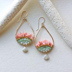 Pink Mint Earrings, Chrysoprase Hoop Earrings, Silverite Dangle, Peach Coral Hoops, Hammered Gold Hoops