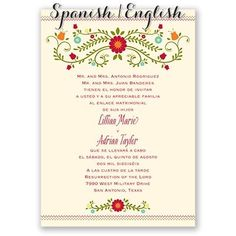 Bilingual english spanish wedding invitation wedding invitations blusa bordada spanishenglish wedding invitation i print your wording in english on the front and spanish on the back filmwisefo Image collections