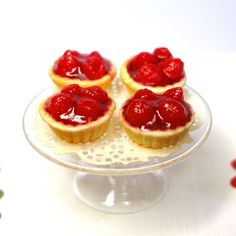 Strawberry Tarts - Dollhouse Miniature Food Handmade