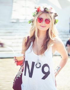 Glastonbury 2013. Heart shaped sunnies and floral headband...a match made in heaven! #festivalfashion