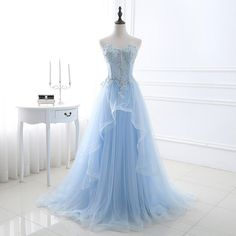 Prom Dress Princess, A Line Sweetheart Corset Light Blue Tulle Ruffle Applique Beaded Prom Dress Shop ball gown prom dresses and gowns and become a princess on prom night. prom ball gowns in every size, from juniors to plus size. Ball Gowns Evening, Blue Evening Dresses, Light Blue Dresses, A Line Prom Dresses, Bridesmaid Dresses, Prom Gowns, Wedding Dresses, Evening Party, Light Blue Wedding Dress
