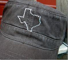 Rhinestone Texas Cadet Cap $12.99 http://www.dumbblondeboutique.com/rhtecacap.html