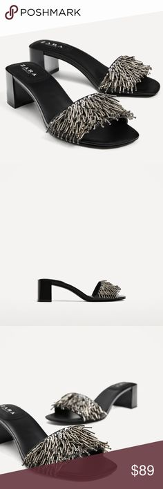 ZARA BEADED TASSEL MULES SLIDES SANDAL BRAND NEW ZARA BEADED TASSEL MULES SLIDES SANDAL BRAND NEW Zara Shoes Mules & Clogs
