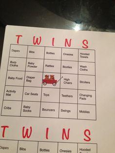 Twins Baby Shower Bingo; Wagons ; Bears; Twins