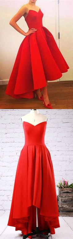 Red Prom Dresses Princess, Asymmetrical Prom Ball Gowns, Satin Formal Party Dresses with Ruffles