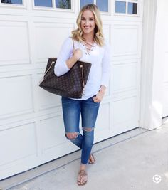 Spring outfit and Louis Vuitton neverfull gm