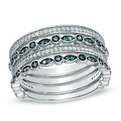 1/2 CT. T.W. Enhanced Blue and White Diamond Multi-Row Ring in Sterling Silver