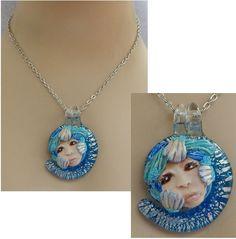 Ocean Seashell Goddess Pendant Necklace Jewelry Handmade NEW Polymer Clay Nautical Mixed Media by britpoprose99 on Etsy