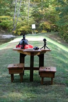 At home shooting range.