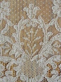 Lovely French Net Alencon Lace Tablecloth Antique c1900 by Vintageblessings on Ruby Lane