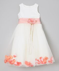 Look what I found on #zulily! Ivory & Coral Floral A-Line Dress - Infant, Toddler & Girls by Kid's Dream #zulilyfinds