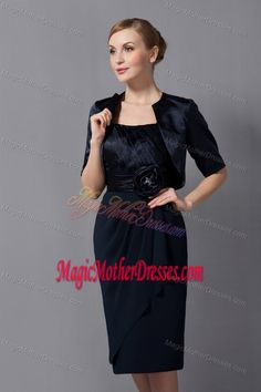Hand Made Flower Ruched Black Wilmington Mother Dresses for Prom