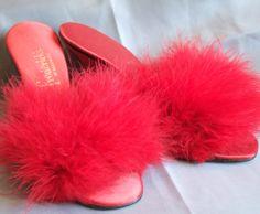 Vintage Fredericks of Hollywood Red High Heel Marabou Boudoir Slippers