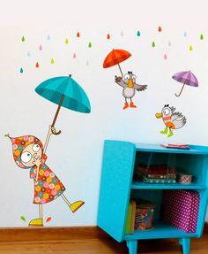 Série-Golo ★ Wandsticker Kind Regenschirm