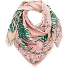 Heart Heart Heart Pink Silk Birds Scarf (61.455 HUF) ❤ liked on Polyvore featuring accessories, scarves, prints, silk shawl, silk scarves, pink scarves, pink silk scarves and patterned scarves
