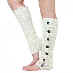 Pair of Chic Lace and Button Decorated Knitted Leg Warmers For Women