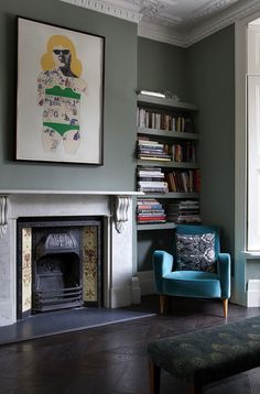 3 Fair Tips: Interior Painting Living Room Chandeliers interior painting small spaces.Interior Painting Tips Shades interior painting colors valspar.Interior Painting Tips Sea Salt. Living Room With Fireplace, My Living Room, Small Living, Living Room Decor Green, Artwork For Living Room, Eclectic Living Room, Living Room Designs, London Living Room, Room London
