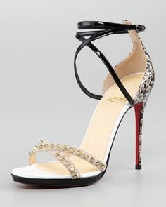 Christian Louboutin Monocronana Patent Leather and Suede Studded Sandal