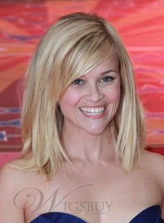 Reese Witherspoon Shoulder Length Bob Lace Front Wig 100% Indian Human Hair about 12 Inches: wigsbuy.com