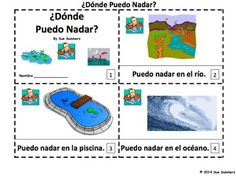 Spanish Where Can I Swim 2 Emergent Readers - Donde Puedo Nadar? by Sue Summers - One with text and images, one with text only so students can sketch and create their own versions of the booklets.