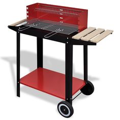 BBQ Grill Charcoal Smoker Charcoal Barbecue Grill Charcoal BBQ Stand 2 Wheels