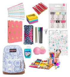 A home decor collage from February 2016 featuring file folder, blue pencil case and paper magnet. Middle School Supplies, Middle School Hacks, School Kit, College School Supplies, College School Bag, School Bag Essentials, Backpack Essentials, School Backpack Organization, College Supply List