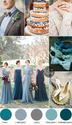 Wedding Themes Different shades of blue green Wedding { Midnight Green gray teal blue green Teal And Grey Wedding, Teal Blue Weddings, Green Wedding, Wedding Colors Teal, Autumn Wedding Colours, Wedding Color Combinations, Wedding Color Schemes, Wedding Colour Palettes, Color Combos