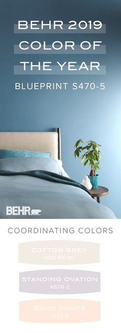 Discover the welcoming, blue tone of Blueprint, the Behr 2019 Color of the Year, in this master bedroom design. Use a pastel color palette that includes Cotton .