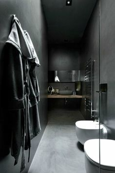 66 Narrow Bathroom You Can Make Reference to Build in Your Minimalist Home - Dark Gray Bathroom, Dark Bathrooms, Amazing Bathrooms, Bathrooms Decor, Modern Bathrooms, Bathroom Toilets, Laundry In Bathroom, Small Bathroom, Bathroom Closet