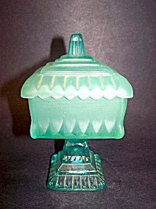 Green Satin Glass Covered Dish. Click on the image for more information.