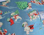 Vintage Christmas Wrapping Paper - Dennison Snowman On Blue - Two Sheets NOS