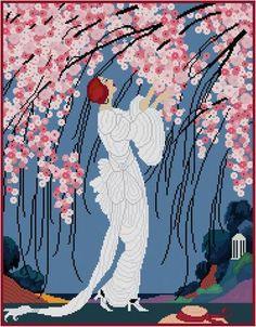 Cherry Blossoms Helen Dryden magazine cover art cross stitch pattern PDF 1920s
