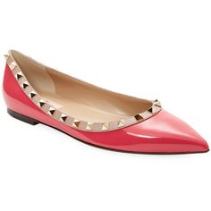 VALENTINO GARAVANI Women's Studded Ballet Flat - Red, Size 39.5 (1,925 PEN) ❤ liked on Polyvore featuring shoes, flats, red, red pointed toe flats, pointy toe ballet flats, studded ballet flats, pointed toe ballet flats and leather flats