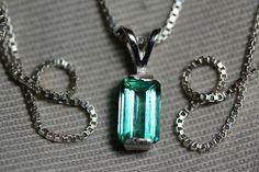 Emerald Necklace Colombian Emerald Pendant 0.80 by SilverJewelery