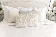 Interior Design for Real Life Glam Master Bedroom, White Bedding, All White, Throw Pillows, Blanket, House, White Linen Bed, White Linens, Toss Pillows