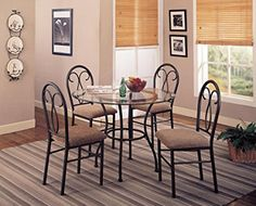 Coaster Odelia 120565 5pc Dining Set Including Table with Metal Base and Microfiber Upholstered Chairs in Dark Brown