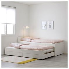 SLÄKT Bed frame w/pull-out bed + storage, white, Twin. Under this bed frame there is an extra bed and 2 drawers for the quilt and pillow. Ikea Bedroom, Bedroom Furniture, Bedroom Decor, Bedroom Ideas, Master Bedroom, Headboard Ideas, Bedroom Inspo, Bedroom Colors, Bedroom Designs